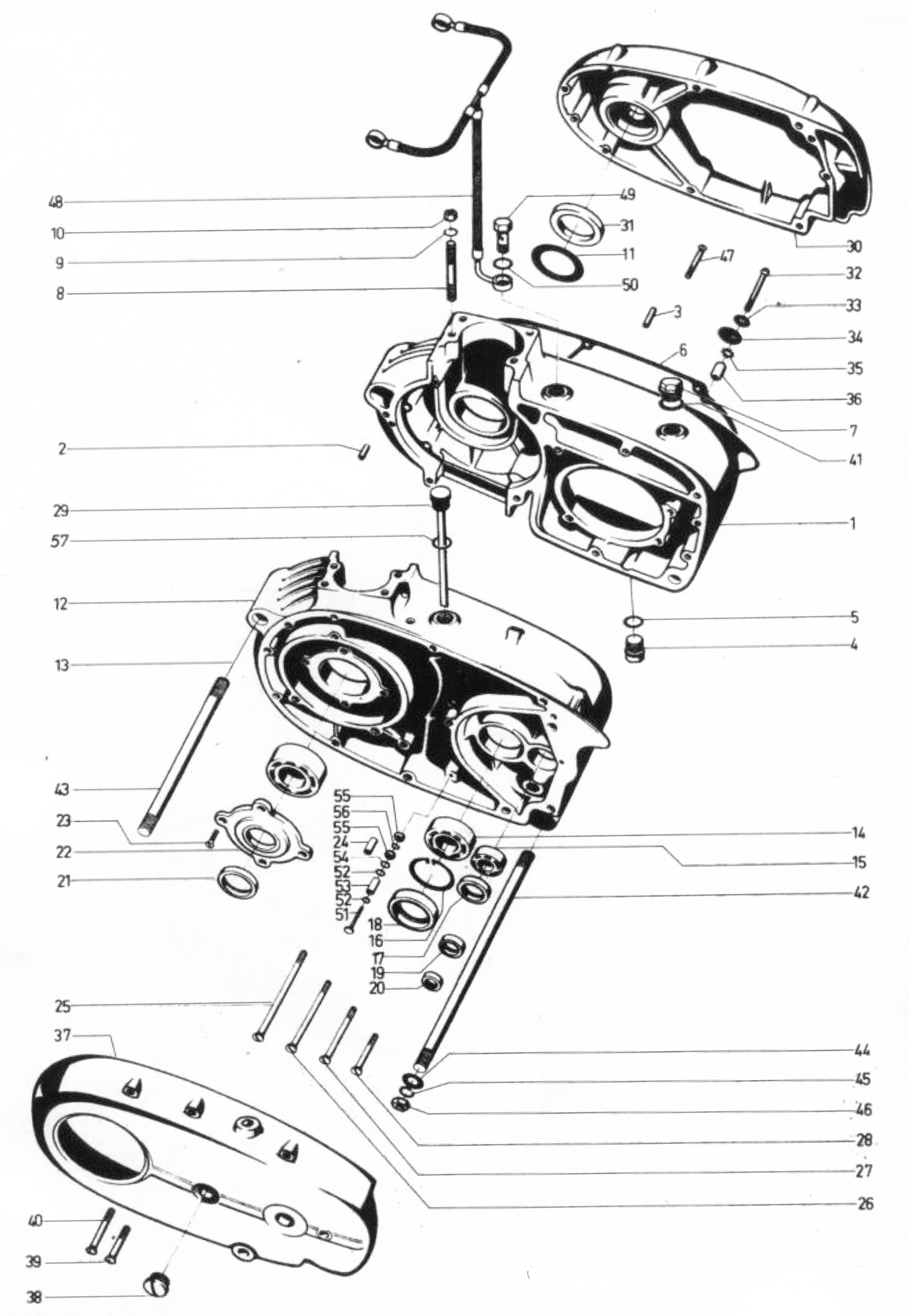 Motorgehäuse und Deckel